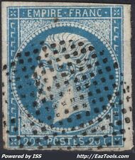 FRANCE EMPIRE 20c BLEU TYPE II N°14B CACHET CERCLE DE POINTS