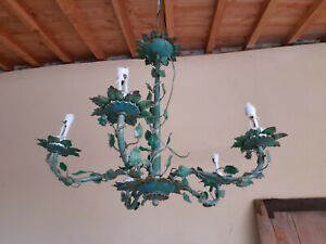 FRENCH  shabby CHANDELIER  GREEN OAK LEAVES TOLE 5 ARMS. MID LAST CENTURY