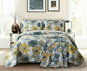 Oversize Leahanna Lightweight 3PC Mix of Paris Midnight Color Printed Quilt Set