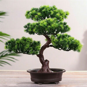 Fake Artificial Green Plant Bonsai Potted Simulation Pine Tree Home Desk Decor