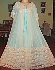 New listing Vintage Intime Long Double Layer Chiffon Lace Peignoir Robe,Med-Lg-Bust 50