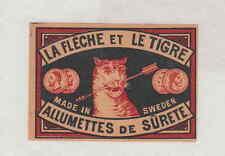 Ancienne étiquette  de paquet   allumette Suède  FF237  La Flèche et le Tigre  2
