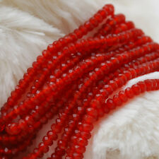 """Grade A Natural Red Agate Faceted Rondelle Spacer Gemstone Beads 2 x 3mm - 15.5"""""""