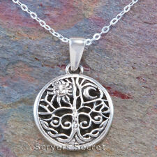 Celtic Tree Necklace Celestial SUN MOON Pendant Sterling Silver 925 18""
