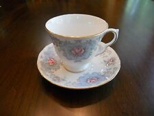 Vintage Queen Anne Bone China Cup & Saucer with Blue Pink Flower