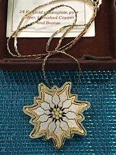 Reed & Barton Damascene CHRISTMAS POINSETTIA Necklace ~TRI COLOR METAL~ IN BOX