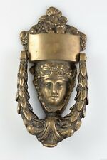 Vintage Antique Solid Brass Bacchus Dionysus Greek God Of Wine Face Door Knocker