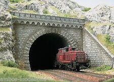BUSCH 7023 H0, Tunnelportal, 2-gleisig mit 2 Böschungsmauern, Bausatz, Neu