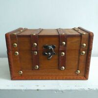 Small Rustic Wooden Antique Style jewellery Box Treasure Chest Trinket Keepsake