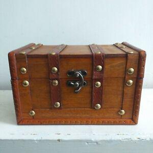 Small Rustic Wooden Antique Style jewellery Box Treasure Chest Trinket Keepsake