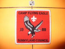 1989 Camp Flying Eagle Patch,pp,Sunny Land Council,BSA,WHT,OA 219,552,Florida,FL