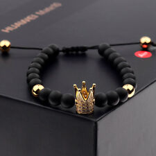 Fashion Men's Cubic Zircon Gold Plated Crown Bracelet Bead Macrame Bracelet H7