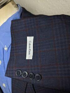 NWT New 54R Calvin Klein Purple/blue/orange Plaid Wool Sport Coat Blazer Jacket
