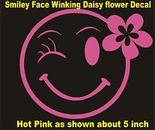 Car Window Vinyl Decal Sticker- Smiley Face winking with daisy flower