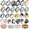 Men Women Stainless Steel Titanium Band Ring Wedding Engagement Size 6-22 New