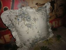 SIMPLY SHABBY CHIC GRAY & BLUE FLORAL SQUARE THROW PILLOW 15""