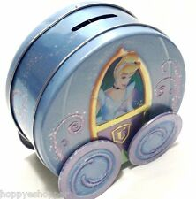 Disney Cinderella Coach Carriage Tin Piggy Bank On Moving Wheels 5x5""