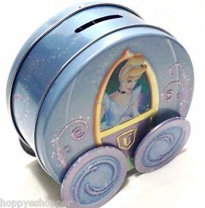 "Disney Cinderella Coach Carriage Tin Piggy Bank On Moving Wheels 5x5"""