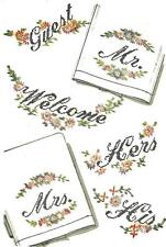 """Vintage iron on Embroidery transfer 7396 Welcome Guest Mr Mrs Hers His 4X6"""" 12X4"""