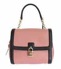 DOLCE & GABBANA MISS BONITA Pink Black Leather Key Padlock Hand Bag Purse