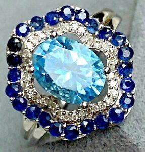 14K White Gold Oval Aqua Blue Topaz Diamond Sapphire Ballerina Vintage Ring 7.25