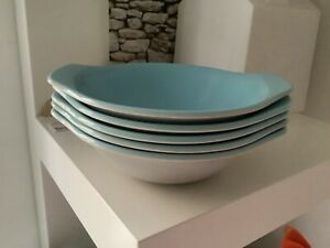 POOLE POTTERY DESSERT BOWLS DISHES TWINTONE  GREY & PALE BLUE. Dolphin mark. X5