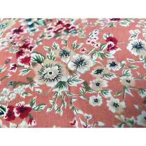 Vintage Pink Mauve Floral Crepe Apparel Fabric with Red and Cream Flowers