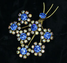 Vintage Costume Brooch blue/white Diamante stones 50s/60s Flowers Bouquet/Pin