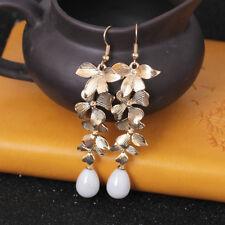 1pair Elegant Flower Gold Orchid Matte Gold Long Dangle Hook Fashion Earrings TR