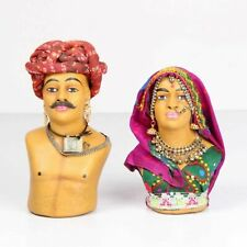 Vintage Hand Made Old Rajasthani Couple Statue Made Of Sand _ 3566
