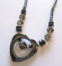 Fashion Necklace -Hematite- heart pendant clear gray beads-gray shade