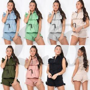 Women's Ladies Zip Frill Tie Up Loungewear Shorts Tracksuit Set New UK 8-14