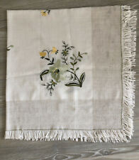 "Vintage Linen Mix Tablecloth 34"" Square Flower Embroidery"