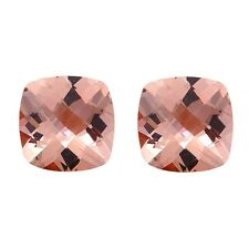 3.80ct 8mm Natural Cushion Cut Morganite Loose Gemstones Pair Great 4 Earrings!