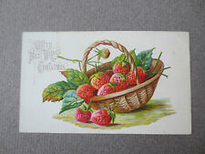 ANTIQUE Christmas Card Basket of Strawberries Embossed Small Size