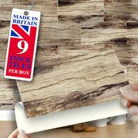 "Self Adhesive Wall Tiles | Pk of 9 Driftwood Brick 8"" x 4"" Stick On Wall Tiles"