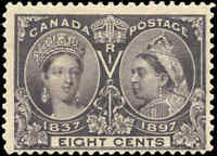 1897 Mint H Canada F+ Scott #56 8c Diamond Jubilee Stamp