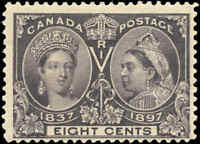 1897 Mint Canada F+ Scott #56 8c Diamond Jubilee Stamp Hinged