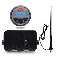 "Waterproof Marine AM/FM Radio Bluetooth Stereo+4"" Box Outdoor Speaker+FM Antenna"
