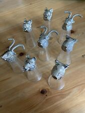 8 Wine Glasses With Metal Animal Heads