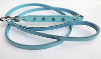 HUNDELEINE, Leine+ Kristallen, Leder 130cm, Blau (Made in Poland 25-01)