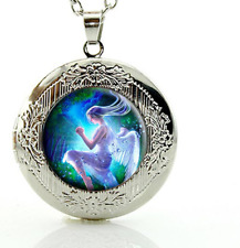 Fairy angels silver lockets necklaces