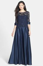 JS COLLECTIONS Navy Blue Sequin Lace Satin A-Line Skirt Boutique Gown Dress 12
