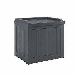 Suncast SS601C 22 Gallon Outdoor Patio Small Deck Box w/ Storage Seat,Cyberspace