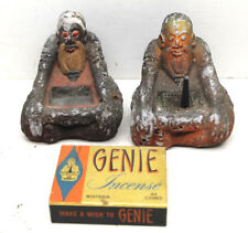 Very Cool Vintage 1973 Pair Incense Holders Buddha Medition Zen Signed Composite
