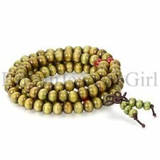 Men Women 108 Wood 8mm Beads Bracelet Meditation Buddhist Rosary Mala Necklace