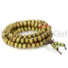 Men Women 108 Wood 8mm Beads Bracelet Meditation Buddhist Rosary Mala Necklace