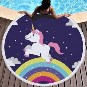 Cartoon Kid Unicorn Round Blanket Tassel Beach Towel Children Summer Microfiber