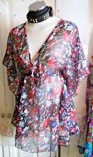Boho/Festi/Beach kaftan/tunic, size10,Kushi floral, tie neckline NEW.sexy,summer