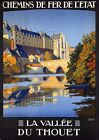 "Vintage Illustrated Travel Poster CANVAS PRINT France By train Du Thouet 24""X16"""
